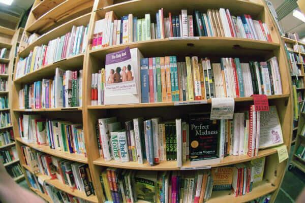 shelf of parenting books